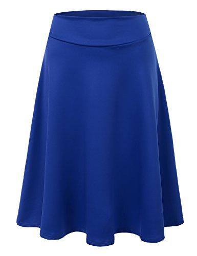 Doublju Womens High Waist A-Line Flared Midi Skirt (Made In USA) ROYAL LARGE