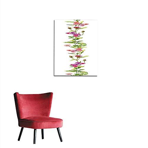 - longbuyer Wallpaper Butterflies in Meadow Herbs Floral Watercolor Repeated Border Frame Mural 32