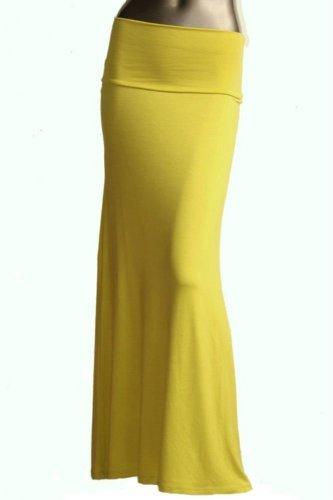Azules Women's Rayon Span Maxi Skirt, Lime, X-Large