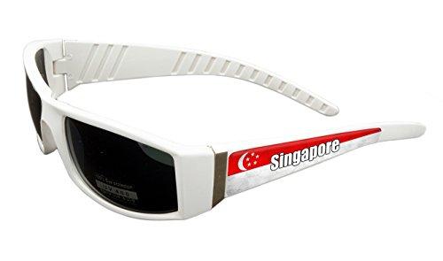 Singapore Design White Frame/Black Lens 60mm Sunglasses Item # - Singapore Eyewear Sports