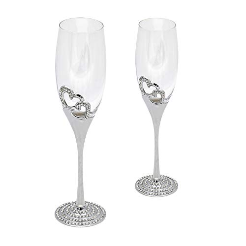 D&Z Champagne Crystal Glasses Flute Pair, Heart-shaped Colored Enamel Cocktail Glasses Wedding Goblet Set Inlaid with Diamonds,7.85 oz.2 Pcs