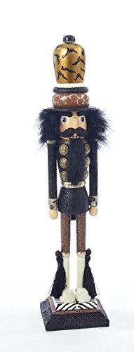 Kurt Adler Hollywood Tall and Skinny Tiger Print Wooden 16 Inch Christmas Nutcracker