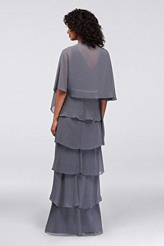 110387 Steel Capelet Long Mother Style Tiered Groom Chiffon Bride Dress AvU8wqA