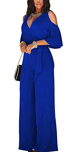 Lkous Women's Sexy Deep V Neck Cold Shoulder Wide Leg Jumpsuit With Belt Blue Medium -
