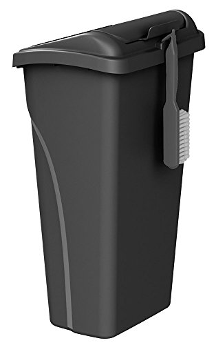 United Solutions WB0258 All-in-One 10 Gallon (40 Quart) Wastebasket with Dustpan and Brush