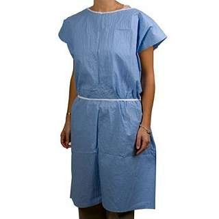 Graham Medical Exam Gown, Disposable, Scrim Reinforced, Sewn, 36 Inch x 45 Inch, Blue, 260 (Case of 25)