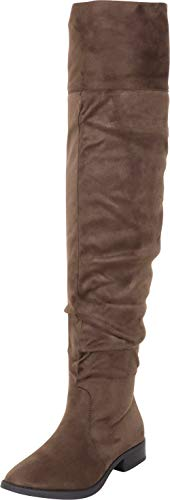(Cambridge Select Women's Thigh-High Slouch Foldover Cuff Low Heel Over The Knee Boot,10 B(M) US,Olive)