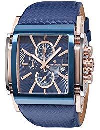YVES CAMANI ESCAUT Men's Wrist Watch Chronograph Analog Quartz Blue Leather Strap Blue Dial YC1060-I