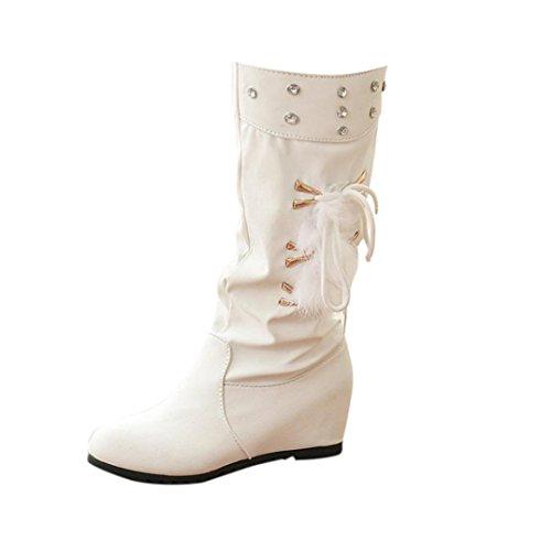 Les Femmes Hunpta Hiver Glissement Sur Le Chaud Coins En Cuir Med Fausse Fourrure Rehaussent Chaussures Bottes Blanches