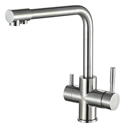 3-Way Water Filter Kitchen Tap 360 ° Rotation Brass Kitchen Tap 2 Lever Mixer Sink Tap Sink Tap Fitting for Osmosis Systems Drinking Water Systems, Silver