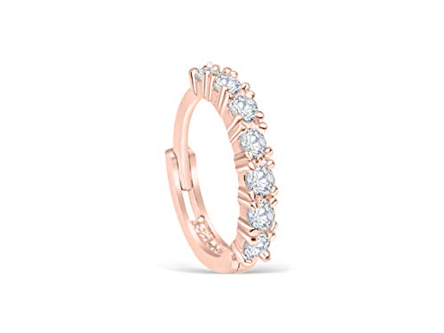 14K Real Solid Rosegold Jewelry Cz 6mm Open Round Circle Tragus Cartilage Snug Inner Outer Conch Daith Helix Ear Segment Clicker Huggie Hoop Ring Piercing Earring For Women