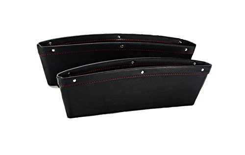 Car Seat Catcher and Gap Filler - Side Pocket Organizer Between Seat & Console - Premium PU Leather Interior Car Accessories (Black)