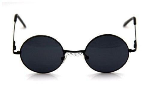 Round glasses retro black glasses black sunglasses John Reno wind Yoko Ono wind UV cut cosplay (japan - Shipping Worldwide Sunglasses