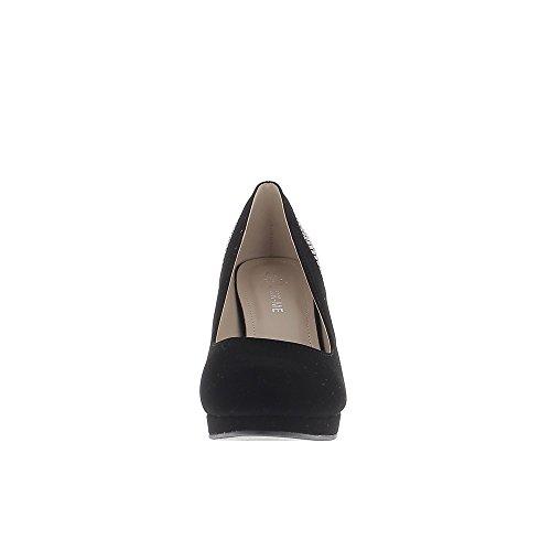 Chaussures Grande Taille 10cm Talons Noirs Et Plateforme Avec Strass