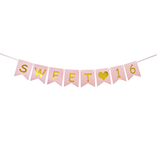 INNORU Sweet 16 Banner – Pink and Gold