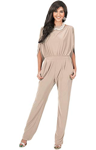 - KOH KOH Womens Short Sleeve Sexy Formal Cocktail Casual Cute Long Pants One Piece Fall Pockets Dressy Jumpsuit Romper Long Leg Pant Suit Suits Outfit Playsuit, Tan Light Brown M 8-10