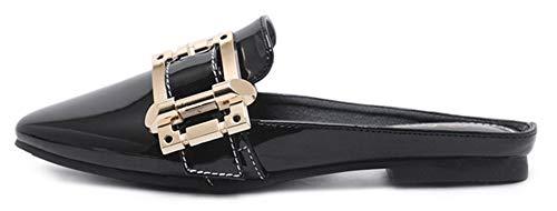 Chaussures Bout Métal Mode Aisun Mules Plates Noir Carré Femme HwgqnvRI