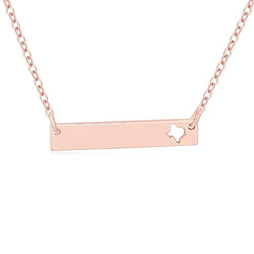 (MANZHEN Cutout State Texas Bar Charm Pendant Necklace (Rose Gold))