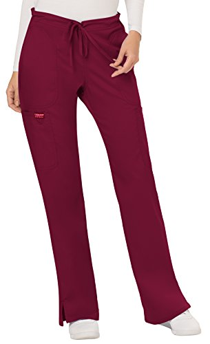 WW Revolution by Cherokee Women's Mid Rise Moderate Flare Drawstring Pant, Wine, Large