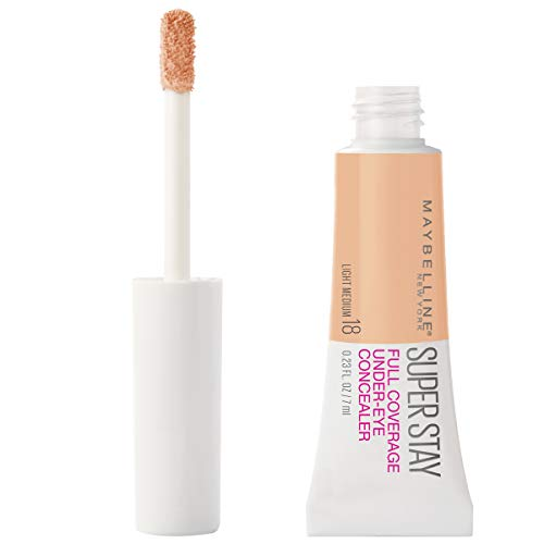 Maybelline Super Stay Super Stay Full Coverage, Brightening, Long Lasting, Under-eye Concealer Liquid Makeup For Up To 24H Wear, With Paddle Applicator, Light/Medium, 0.23 fl. oz.