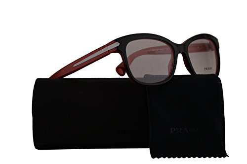 Prada PR10RV Eyeglasses 53-17-140 Top Black Red w/Demo Clear Lens 7I61O1 VPR10R VPR 10R PR - And Black Red Prada Sunglasses