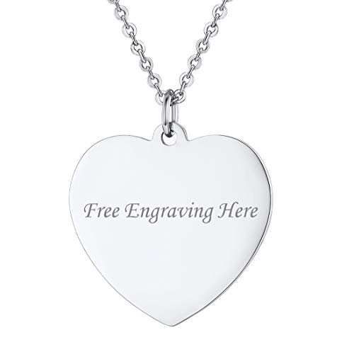 U7 Stainless Steel Heart Necklace Free Engraving Message Pendant for Women Girls, Chain 22