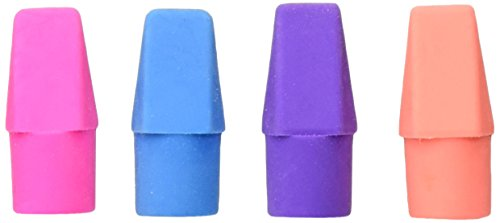 School Smart 89941 Latex Free Chisel Shaped Pencil Cap Erasers - Tub of 100 - Assorted (Eraser Tub)