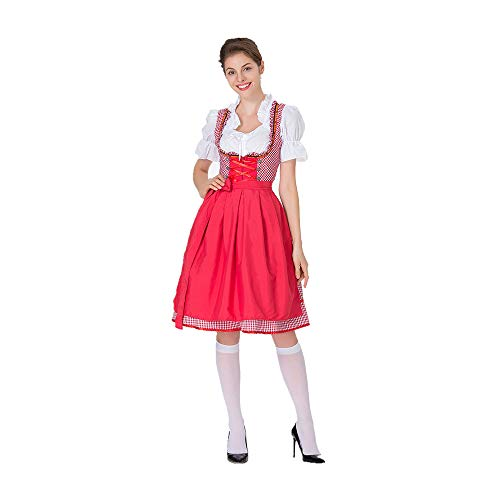 YIBEN Halloween German Beer Carnival Beer Sister Uniform, Carnival Bar Nightclub Maid Outfit, Photo Studio Photo Service,Red,XXXL ()