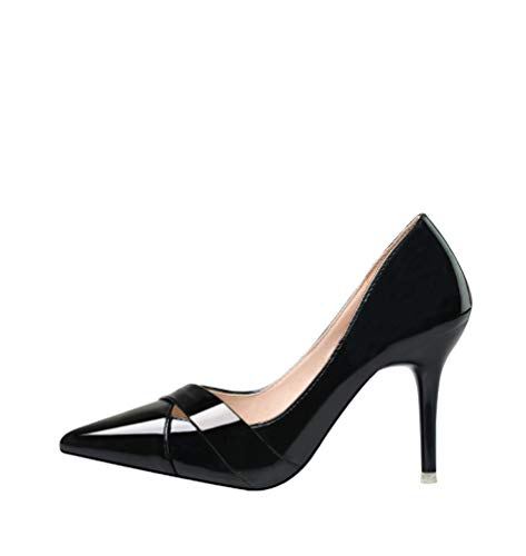 (GanQuan2018 Women Pumps Pointed Toe Slip on Shallow High Heel Sexy Patent Leather Pumps)