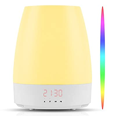Hangsun Wake Up Light Sunrise Alarm Clock Simulation Night Light Bedside Table Lamp with 8 Natural Sounds, Dimmable LED Mood Light, Touch Sensor, Bluetooth Speaker, 3 Brightness Levels Control