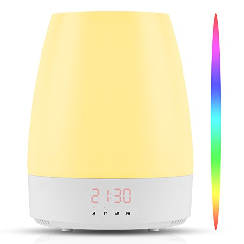 Light Clock Natural Alarm (Hangsun Wake Up Light Sunrise Alarm Clock Simulation Night Light Bedside Table Lamp with 8 Natural Sounds, Dimmable LED Mood Light, Touch Sensor, Bluetooth Speaker, 3 Brightness Levels Control)