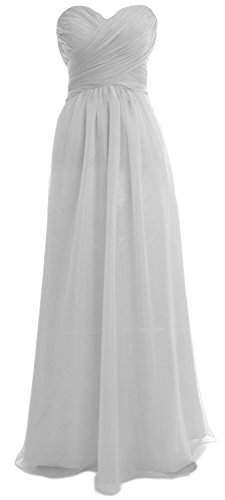 MACloth Women Strapless Chiffon Sequin Long Prom Dress Wedding Party Formal Gown Plateado