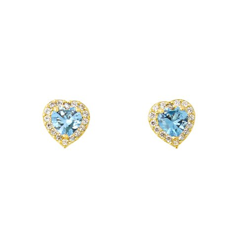Heart Shaped Aquamarine Earrings - 8