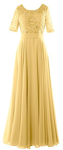 MACloth Women Lace Formal Evening Gown Half Sleeve Mother of The Bride Dress (US14, Canary)