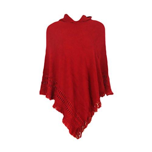 Mantelle Pullover Targogo con Tinta Rosso Ragazza con Cappuccio Maniche Frange Elegante Cape Mantellina Donna Maglioni Abbigliamento Top Stile Maglione Unita Poncho Tunica Etnico Senza r7WwgzqIr
