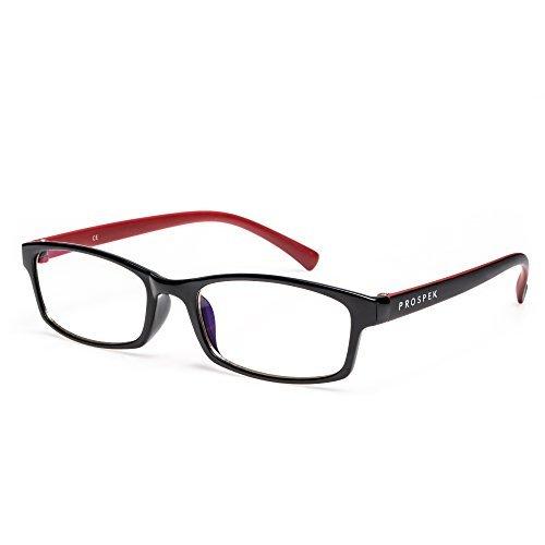 PROSPEK - Premium Computer Glasses - Professional - Blue Light and Glare Blocking (+0.00 (No Magnification) | Regular Size, Red and Black)