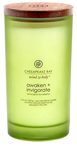 Chesapeake Bay Candle Mind & Body Large Scented Candle, Awaken + Invigorate (Lemongrass Eucalyptus)