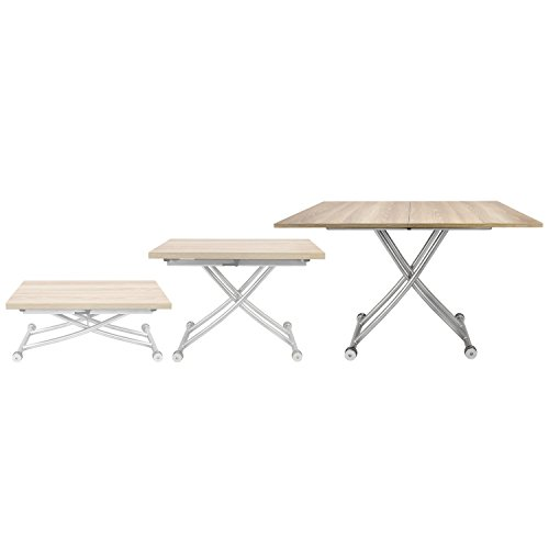 SpaceMaster 2219-LGTWD X Convertible Adjustable Coffee and Dining Table, Light Wood (Bases Coffee Only Table)