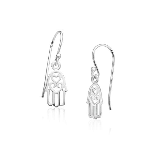 Big Apple Hoops - Genuine 925 Sterling Silver ''Love Luck'' Filigree Hamsa Protection Hand with Couple Heart Dangle Hook Earrings | Lightweight, Delicate and Perfect Design