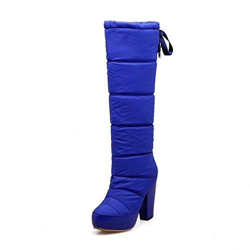 AllhqFashion Damen Weiches Material Schnüren Rund Zehe Hoher Absatz Hoch-Spitze Stiefel Blau