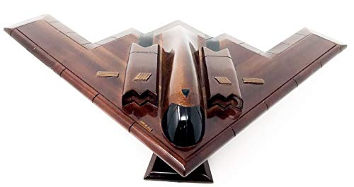 B2 Bomber Replica Airplane Model Hand Crafted with Real Mahogany Wood