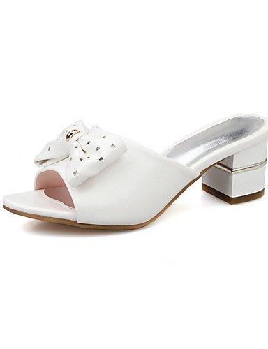 LFNLYX Zapatos de mujer-Tacón Robusto-Tacones-Sandalias-Vestido / Casual / Fiesta y Noche-Semicuero-Rosa / Blanco White