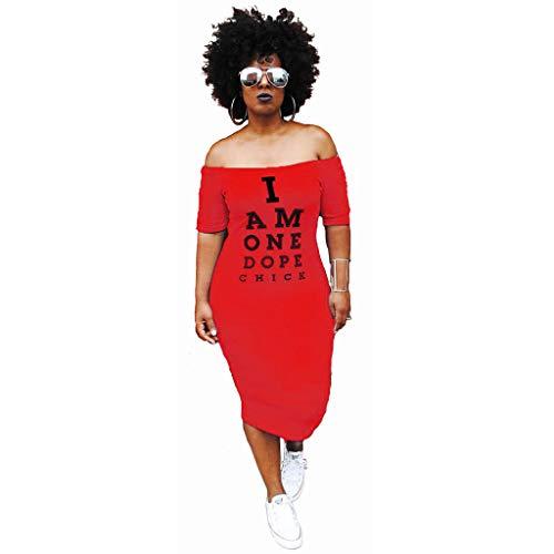 Eshoono Womens Plus Size Off Shoulder Letter Print Bodycon Dress Summer Tunic Dresses Red