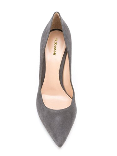 Womens Suede Handmade Slip On Shoes EDEFS Grey Toe Court 80mm Pumps Patent Pointed Spring pSOwqx