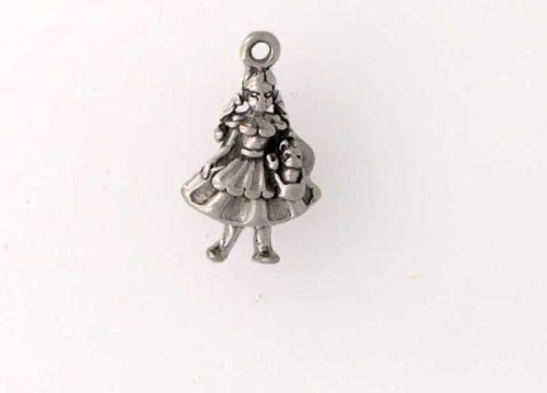 Sterling Silver 3-D Girl with a Dog Charm - Jewelry Accessories Key Chain Bracelet Necklace Pendants