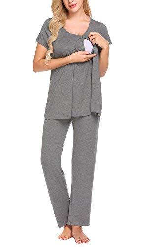dafa89bb7404 Skylin Women Nursing Pajamas Set Short Sleeve Maternity Sleepwear (Gray