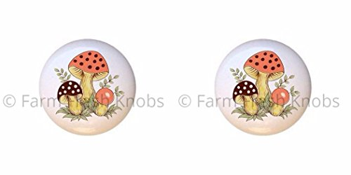 SET OF 2 KNOBS - Sears Merry Mushrooms Mushroom Shroom - DECORATIVE Glossy CERAMIC Cupboard Cabinet PULLS Dresser Drawer KNOBS