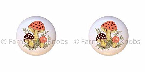 SET OF 2 KNOBS - Sears Merry Mushrooms Mushroom Shroom - DECORATIVE Glossy CERAMIC Cupboard Cabinet PULLS Dresser Drawer - Merry Mushroom