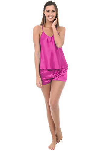 Del Rossa Women's Satin Pajamas, Cross Back Cami top and Shorts, Small (Pink Short Nightgown)