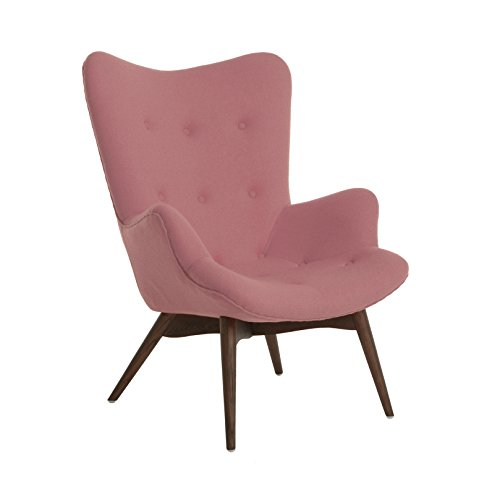 UPC 640746588488, Design Lab MN Aarhus Mid Century Soft Lounge Chair, Baby Pink Fabric
